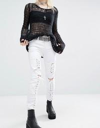 Джинсы скинни с заниженной талией и шнуровкой Tripp NYC - Белый