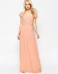 Шифоновое платье макси с открытыми плечами Jarlo - Peach