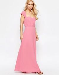 Шифоновое платье макси с вырезом сердечком Jarlo - Розовый