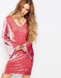 Платье расклешенными рукавами Glamorous - Тускло-розовый бархат