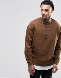 Коричневый oversize-свитшот ASOS - Saddle brown (коричневый)