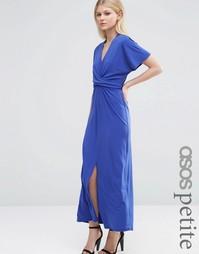 Платье макси с запахом и завязкой ASOS PETITE - Синий