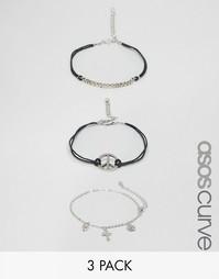 Комплект из 3 браслетов-цепочек в стиле грандж ASOS CURVE - Мульти