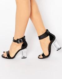 Черные сандалии с пряжкой на прозрачном каблуке Public Desire Trinity