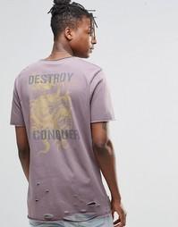 Рваная удлиненная футболка с принтом сзади ASOS - Фиолетово-серый