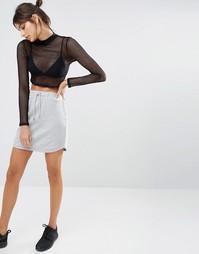 Трикотажная мини-юбка со шнурком Missguided - Серый