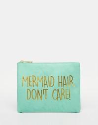 Косметичка со слоганом ASOS Mermaid - Бледно-синий