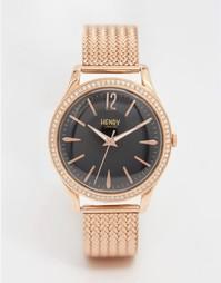 Золотистые часы с сетчатым ремешком Henry London Richmond - Золотой