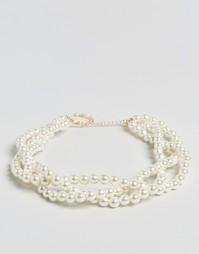 Массивное ожерелье-чокер ограниченной серии с искусственным жемчугом Asos