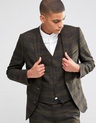 Эластичный клетчатый пиджак зауженного кроя Selected Homme - Хаки