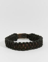 Плетеный кожаный браслет Jack & Jones - Черный