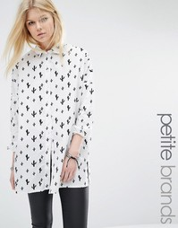 Oversize-рубашка с принтом кактусов Noisy May Petite - Белый