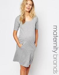 Трикотажное платье с короткими рукавами Mamalicious - Серый Mama.Licious