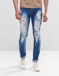 Рваные зауженные джинсы Sixth June - Синий