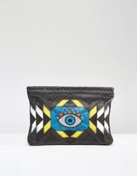Кожаный клатч с рисунком глаза из бисера Cleobella Coventry - Черный