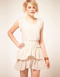 Шелковое платье с рюшами на юбке By Zoe - Белый