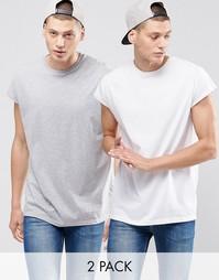 2 oversize‑футболки без рукавов с глубоким вырезом ASOS - Скидка 17%