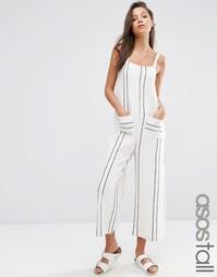 Полосатый комбинезон на лямках с юбкой-шортами ASOS TALL