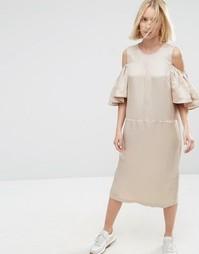 Платье миди с открытыми плечами ASOS WHITE - Кэмел