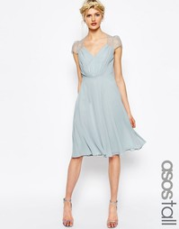 Кружевное платье миди ASOS TALL Kate - Серебряный