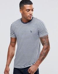 Облегающая футболка в темно-синюю полоску Abercrombie & Fitch