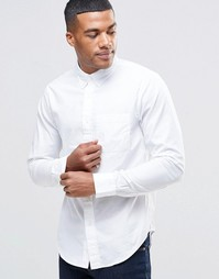 Облегающая белая рубашка из поплина Abercrombie & Fitch - 100 белый