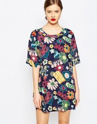 Тканое цельнокройное платье с принтом Love Moschino Hippie Love