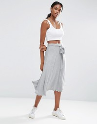 Расклешенная юбка миди с узелком ASOS - Серый меланж