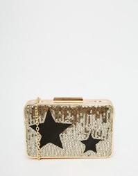Клатч-футляр с отделкой пайетками и звездочками Glamorous - Золотой