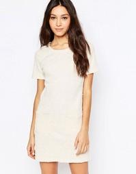 Фактурное платье с пайетками и карманами Mela Loves London - Кремовый