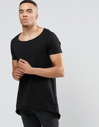 Супердлинная черная футболка асимметричной длины ASOS - Черный