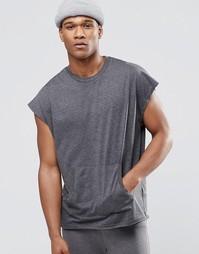 Oversize-футболка в стиле casual с карманом‑кенгуру ASOS - Серый