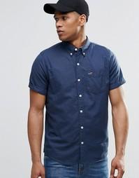 Темно-синяя рубашка узкого кроя в крапинку Hollister - Темно-синий