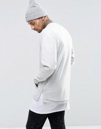 Oversize-свитшот в стиле casual с боковыми вставками в рубчик ASOS