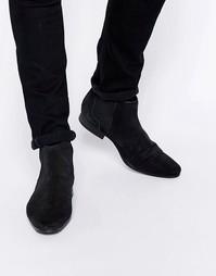Ботинки челси из фактурной кожи в ромбик ASOS - Черный