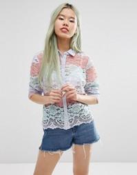 Пастельная блузка с принтом и кружевом ASOS - Мульти