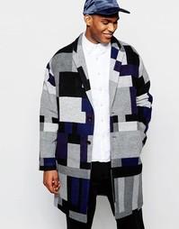 Пальто с заниженной линией плеч и геометрическим узором ASOS - Серый