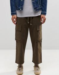 Укороченные брюки карго цвета хаки с широкими штанинами ASOS - Хаки