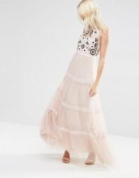 Многоярусное платье макси Needle & Thread Woodland - Розовый лепесток