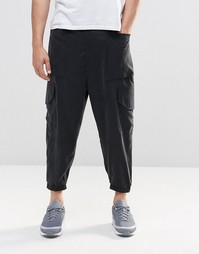 ASOS Drop Crotch Cropped Cargo Joggers In Black - Черный