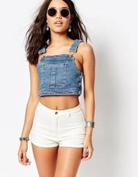 Укороченный джинсовый топ в стиле комбинезона Missguided