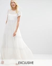 Шифоновое платье макси с кружевом Needle & Thread - Мел