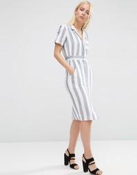 Платье-рубашка в полоску с короткими рукавами ASOS - Мульти