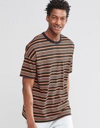 Oversize-футболка с полосатым принтом в стиле ретро ASOS - Черный