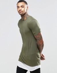 Длинная эластичная футболка в рубчик ASOS