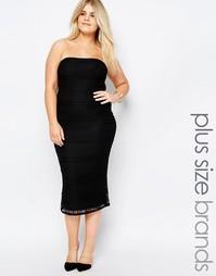 Кружевное платье‑бандо миди Missguided Plus - Черный