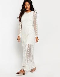 Платье макси со вставкой кроше Boohoo - Слоновая кость