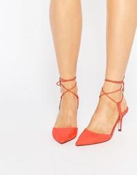 Остроносые туфли на шнуровке ASOS SHOWCASE - Оранжевый
