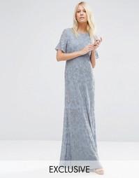 Платье макси с цветочной отделкой Needle & Thread - Умеренный синий
