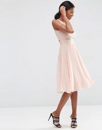 Платье миди со складками ASOS - Телесный